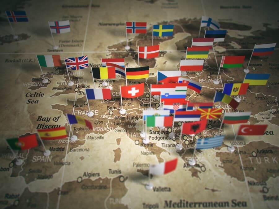 Zemljevid Evrope z zastavami